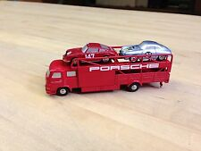 Schuco Piccolo Set / Porsche Race Car Transporter & 2 Cars / Item #SHU001EX - 2