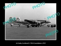 OLD POSTCARD SIZE AVIATION PHOTO OF AIR INDIA LOCKHEED CONSTELLATION c1953