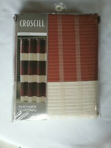 CROSCILL Fairfax 100% Fabric Shower Curtain Cream Burnt Orange Brown Stripe
