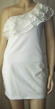 LILA Cream Lace Layered One Shoulder Stretch Bodycon Party Dress Size 12