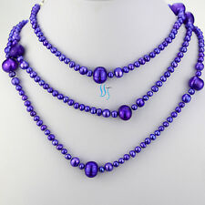 """52"""" 4-10mm Purple Graduated Freshwater Pearl Necklace Strands"""