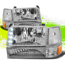FOR 92-96 FORD F-SERIES CHROME LED OE REPLACEMENT HEADLIGHT+BUMPER+AMBER CORNER