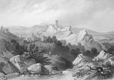 ITALY View of Olevano - 1860s Antique Engraving Print