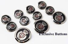 Silver Metal Blazer Buttons Set - Crown & Shield