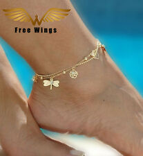 Gold coloured Anklets,Rose,Leaf,Butterfly&Dragonfly charms,Beach,Hippy boho Chic