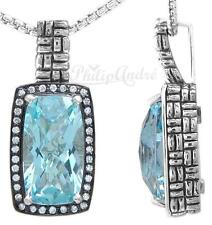 Philip Andre Sky Blue Topaz and 1/3ct Diamond Sterling Silver Pendant Necklace
