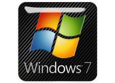 """Windows 7"" 1""x1"" Chrome Effect Domed Case Badge / Sticker Logo"