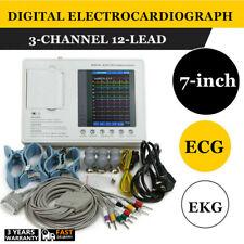 Portable7color 3 Channel 12 Leads Electrocardiograph Ecg Monitor Ekg Machine Ce