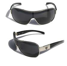 Mens Oversized Sunglasses Khan SHIELD chrome frame black lens cool SHADE 3399