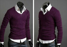 Men Casual Slim Fit V-Neck Pullover Sweater Sweatshirt T-Shirt Jumper Tops Tee