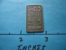 5 GRAMS JM JOHNSON MATTHEY ASSAYERS 999 SILVER RARE SIZE #9