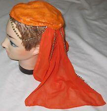 Orange Beaded Geisha Beanie Hat w Veil - One Size