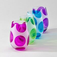 Globo Stemless Goblets Fun Colorful Polka Dots Set of 8 EIGHT Wine Glasses Glass