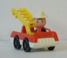 FISHER PRICE Vintage LITTLE PEOPLE Play Family WOODEN FIREMAN with FIRE ENGINE