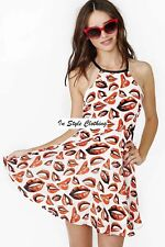 """""""KRYSTAL"""" GORGEOUS """"LIPS"""" SWING SKATER DRESS WITH CUTOUTS SIZE 8 PARTY, CASUAL"""