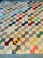 Vintage Bow Tie Quilt Top Hand and Machine Pieced 80x98