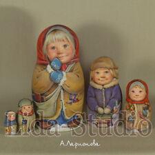 "Nesting dolls 5pcs ""Country-Children Going to School"" A.Larionova. Lida-Studio"