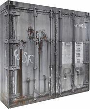 Kleiderschrank Schlafzimmer Schrank Container-Optik, grau