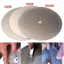 "6"" Grit 240/600/3000 Diamond Coated Flat Lap Wheel Lapidary Grinding Polishing"