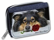 Rough Collie+Rose 'Love You Mum' Girls/Ladies Denim Purse Wallet C, AD-RC2RlymJW