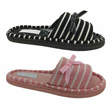Ladies Slippers Grosby Invisible Support Slide Stripe Soft Jersey Size 5-10 NEW