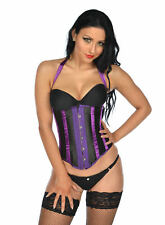 REDUCED Boned Purple & Black Basque Size 8 10 12 14 Underbust Corset Waspie