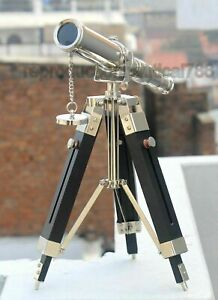 Silver Brass Desk Telescope Spy Handmade With Wooden Tripod Stand Nautical Gift