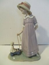 "Lladro Daisa 1978 girl w/wagon and doll retired porcelain fiqurine 11"" tall"