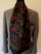 """VINTAGE DARK GREEN FLORAL MULTI COLOUR PURE SILK LONG SCARF FRAY ENDS 12 x 59"""""""
