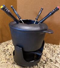 Dansk Black Cast Iron Fondue Set Pot Lid Stand Sterno Container 6 Fondue Forks