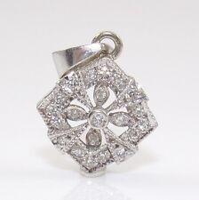 14K White Gold Natural Diamond Accent Cross Cluster Pendant ZD
