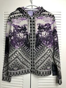 Herve Leger $2550 ADE Purple Jacquard Jacket Zip-Up Hooded Sweater Top XS|P