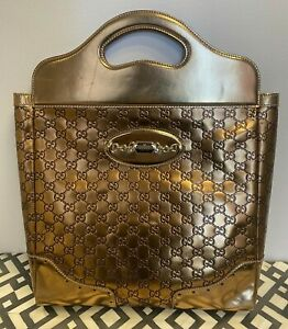 Authentic GUCCI Gold Guccissima Leather Large Punch Top Handle Tote