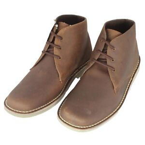 Mens Roamers Brown Waxy Lace-up Flat Ankle Leather Desert Boot