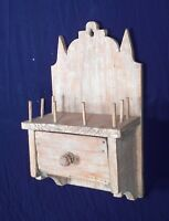 ANTIQUE 19th CENTURY PRIMITIVE HANGING WALL BOX SEWING SPOOL THREAD HOLDER