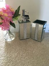 2 Piece Diamante Bathroom Set Soap Dispenser Tumbler Toothbrush Holder Silver