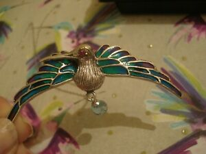 """Beautiful,Finely Crafted Sterling Silver: """"Plique A Jour"""" Hummingbird Pendant"""