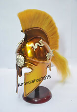 MEDIEVAL GREEK CORINTHIAN YELLOW FINISH HELMET WHITE PLUME WITH STAND
