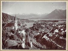 Panorama of Thun, Bern, Switzerland. Original 1890s Collotype