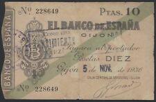 J.B. 10 PESETAS BANCO ESPAÑA GIJON 1936 , Ed.C32