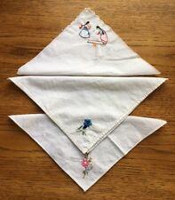 Vintage Handkerchiefs (3) Embroidered Child Girls Children Playing / Flowers