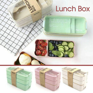 Bento 3-Layer Box Students Lunch Box Eco-Friendly Leakproof 900ml Food Container
