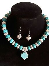 Carved Turquoise and Silver Plate Necklace and Pierced Earrings Set