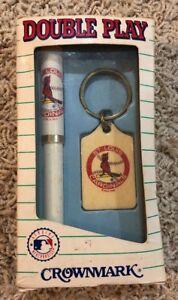 NIB Vintage 1992 St Louis Cardinal Crown mark Double Play Key Chain Pen MLB