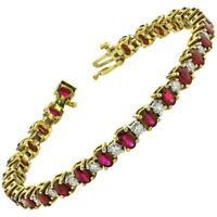 "Vintage 9ct Oval Ruby & Diamond 14k Yellow Gold Over 7"" Tennis Bracelet"