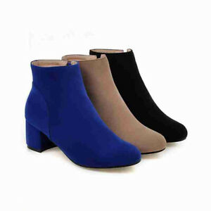 Women Round Toe Side Zip Block Mid Heel Ankle Boots Faux Suede Party Shoe Bootie