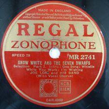 78 rpm JOE LOSS snow white and the seven dwarfs part 1 + 2 , REGAL MR 2741