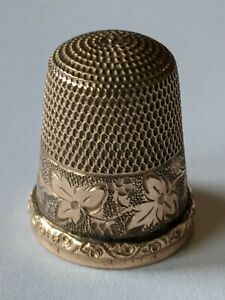 Antique Gold Filled Sewing Thimble Ornate Leaf Pattern No Monograms
