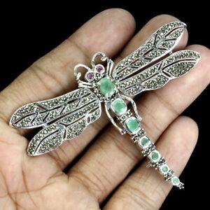 Unheated Oval 7x5mm Green Emerald Ruby Marcasite 925 Silver Dragonfly Big Brooch