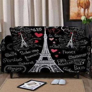 Paris Eiffel Tower Sofa Chair Couch Cushion Stretch Cover Slipcover Set Decor